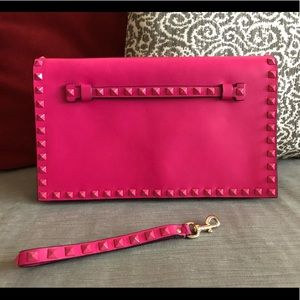 Authentic VALENTINO Pink Studded Clutch/Wristlet